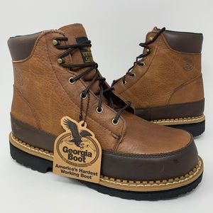 Georgia Giant Mens 6 Inch Work Safety Boots Brown